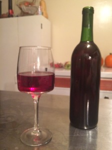 Bottle & Glass of Blueberry Wine